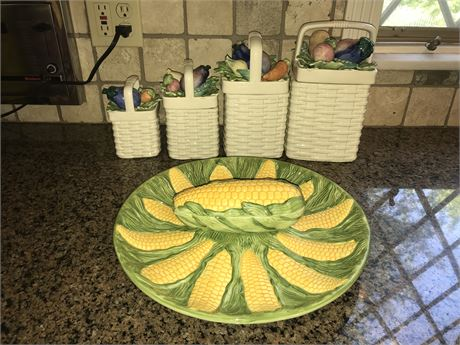Canister Set and Corn on the Cob Plate