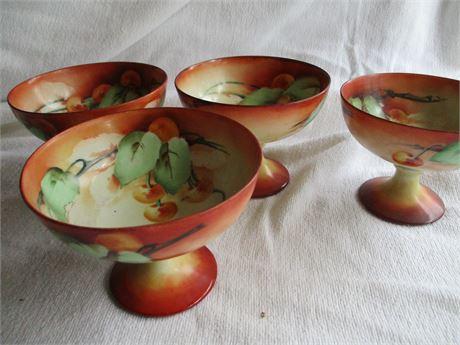"Set of 4 Fancy hand Painted Fine China Oriental 4"" Parfait Glasses"