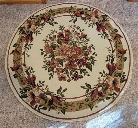 "Round Floral Rug 63"""