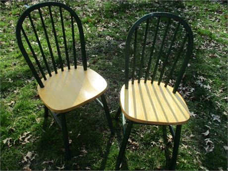 2 Vintage Hardwood Natural & Green Bow Back Side Chairs