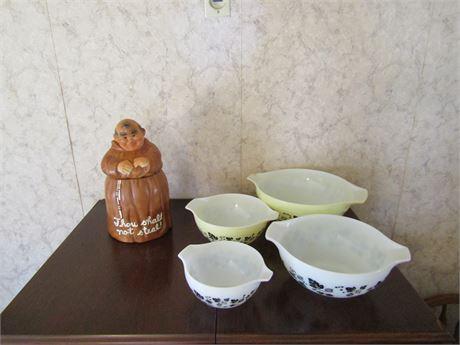Vintage Pyrex Nesting Bowls & Friar Cookie Jar