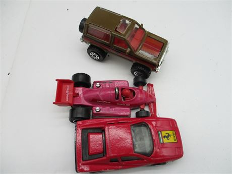 3 Vintage 1980's Match Box Ferrari F1- Racer Ford Bronco Die Cast Car Collection