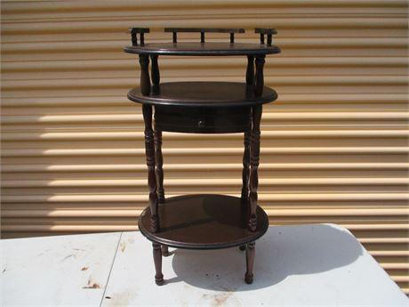 "Vintage Wood 30"" Oval Telphone Night Stand Table"