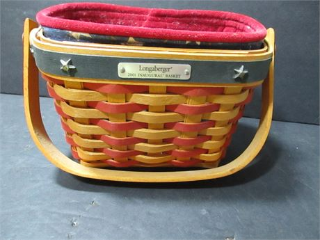 """2001 Longaberger 6"""" 4th of July Inaugural Woven wood Basket w/ Liner"""