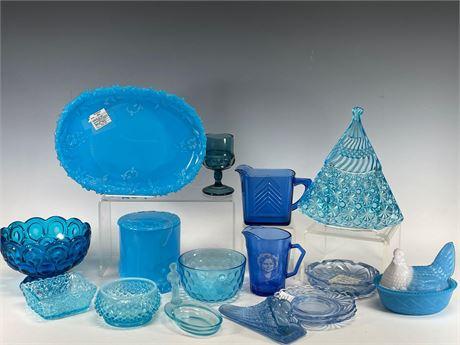FENTON Cambridge Blue Pressed Glass Group Lot