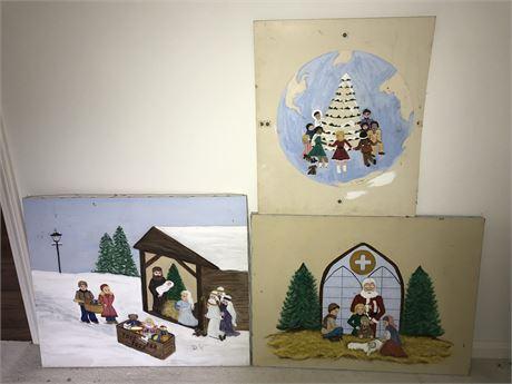 Three Doris Jira Original Christmas Themed Paintings