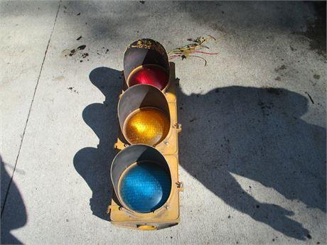 Vintage Heavy Metal Single Sided 3 Globe Traffic Signal Light
