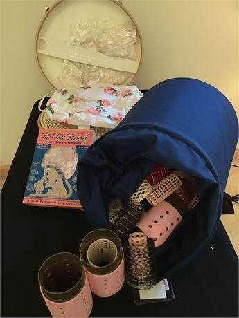 Vintage G.E. Portable Hair Dryer, Re-Nu Hood Hair Dryer Bonnet, and Hair Curlers
