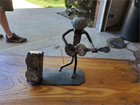 Guitar Player w/ Amp Rail Road Spike Art