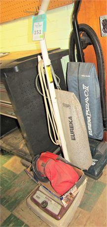 Two Eureka Upright Vacuums and Dirt Devil Hand Vacuum
