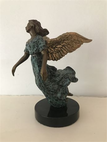 Caruso 1995 Signed Bronze Angel on Marble Base