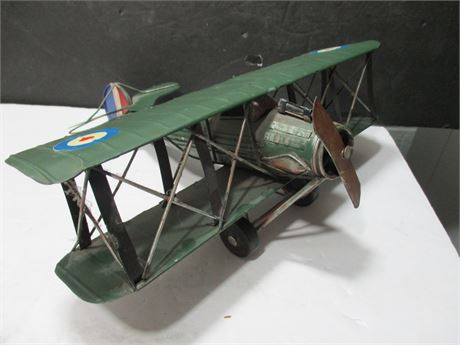 "12"" Hand Crafted World War Metal Bi Plane"