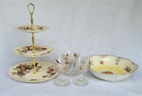 Johnson Bros 4-Tier Tray, 4 Gold Leaf MCM Glasses, Plate