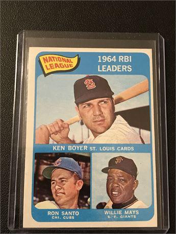1965 Topps  #6 - 1964 RBI Leaders Willie Mays, Ron Santo & Ken Boyer