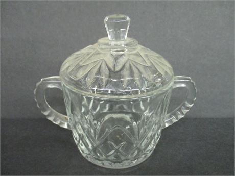 """Vintage 5"""" Fancy Lidded Double handle Glass Candy Dish Bowl"""