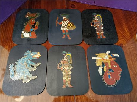 Collection of 6 Vintage ACOXPAN Mayan Wall Plaques MCM