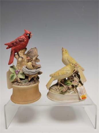 Porcelain Bird Wind Up Music Boxes (2)