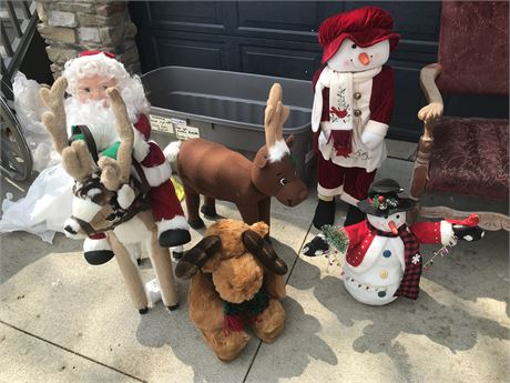 Christmas Lot of Animated Santa Riding Rudolph, Stuffed Rudolph & Stuffed Moose