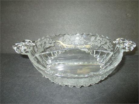 """Vintage 8"""" Divided Glass Serving Snack Bowl Dish"""