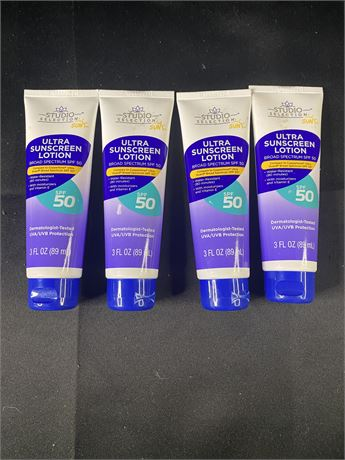 Lot of 4 Studio Selections 50 spf sunscreen lotions.
