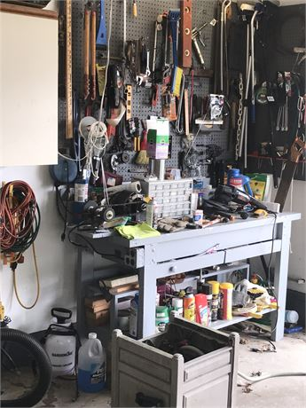 Workbench & Wall Clean Out Lot - Tools, Hardware, Workbench with Grinder & more