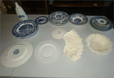 Blue China Lot w/ White Decorative Pieces
