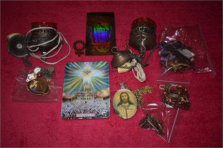 Lot of religious items, including lighting for Orthodox Iconostas