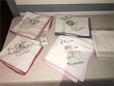 Cross Stitch Table Scarves & Set of 6 White Cotton Napkins