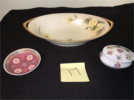 Vintage Rosenthal Porcelain Bowl, Porcelain Powder Dish with Lid & More.