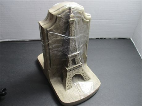 """Pair Vintage Eiffel Tower 8"""" Tall Molded Art Deco Book Ends"""