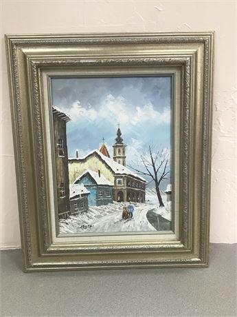 Original Framed David Crespi Oil on Canvas - Winter Snow Village
