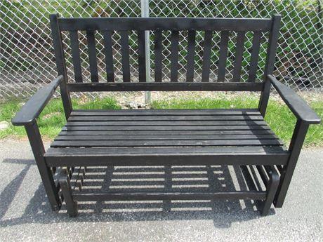 "55"" Wood Patio Porch Glider Bench Rocker Love Seat Size"