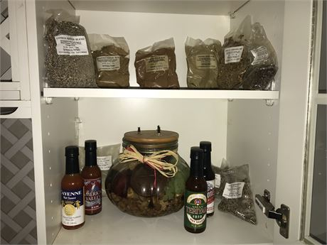 Kitchen Cupboard Lot including unopened sauces, spices and dry rub