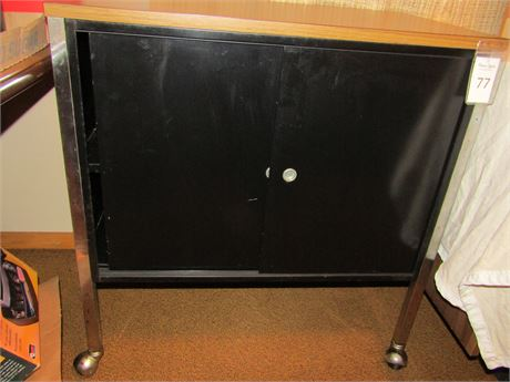 Metal and Wood Storage Cabinet