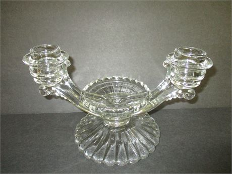 """Vintage 10 1/2"""" glass Crystal Double Candle Stick Holder"""