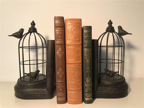 Pair of Birdcage Book Ends with Three Books