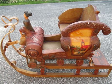 """Antique 32"""" Hand Painted Victorian Lady & Sled  Sleigh Decoration"""