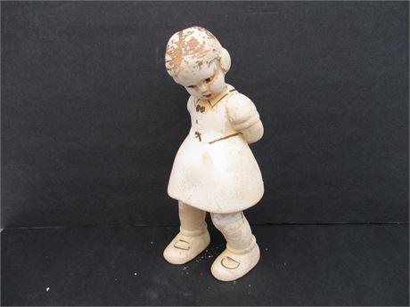 """Rare Robia # 346 9"""" Roman Art 1930's Girl Chalkware Statue"""