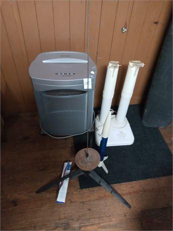 Paper shredder, shoe dryer, toy rocket