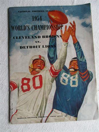 Original 1954 NFL Cleveland Browns Vs Detroit Lions Official Program