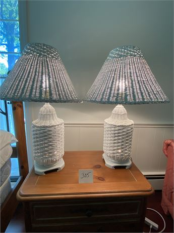 Pair of Wicker Lamps with Dual Light Function