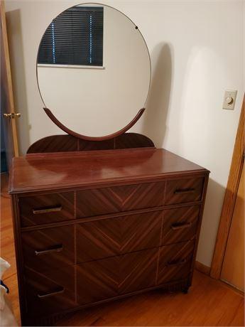 Antique Waterfall Dresser w/ Mirror