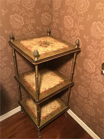 Three Tiered Table on Wheels with Additional Legs for Additional Height