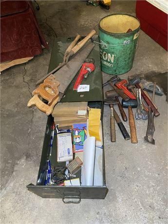 Bucket of Tools w/ Metal Filing Box & Contents