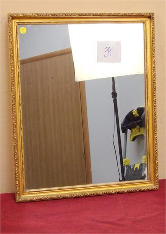 Decorative Rectangle Gold Tone Mirror
