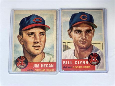 1953 Topps Baseball Jim Hegan and Bill Glynn