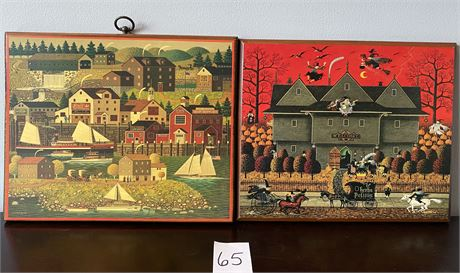 Two Charles Wysocki Prints on Plaques