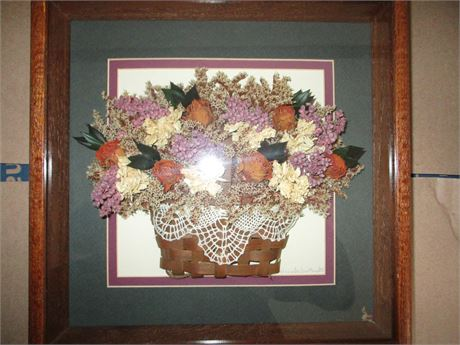 2 Matching Nancy Bailey Mazak Original Dried Flower Shadow Box Art