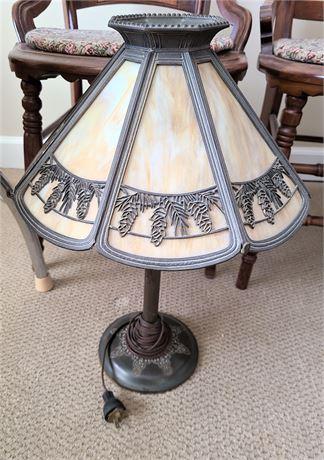 Vintage/Antique Bradley & Hubbard Desk Lamp with Slag Glass Panel Shade