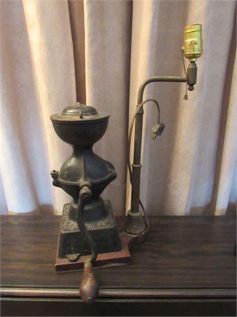 Vintage Coffee Grinder Lamp